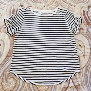 A New Day Black and White Ruffle Short Sleeve